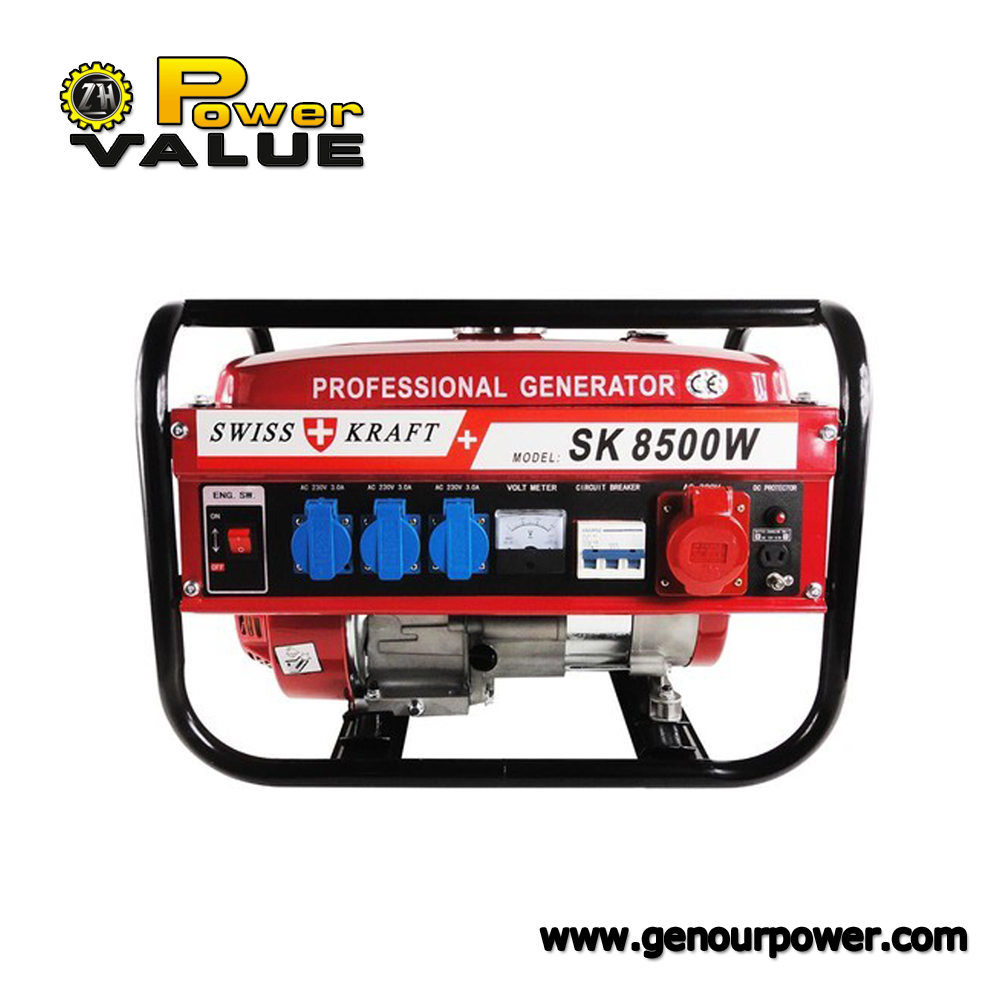 Power Value 7.5kw 100% Copper Low Price Swiss Kraft Style Power 7500W Gasoline Generator